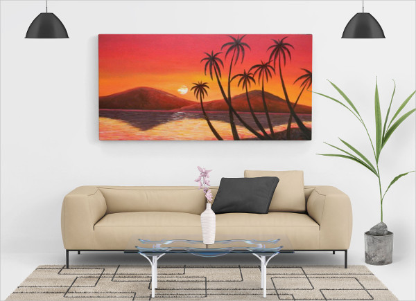 Free Living Room Painting Wall Canvas Mock-Up PSD