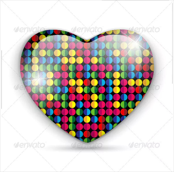 Glass Heart Dots Color Texture