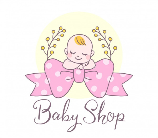 Lovely Hand Drawn Baby Shop Logo Template Free