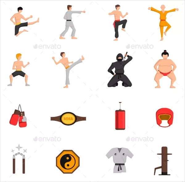 Martial Arts Icons Set