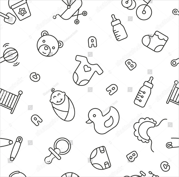 Seamless Pattern with Baby Things