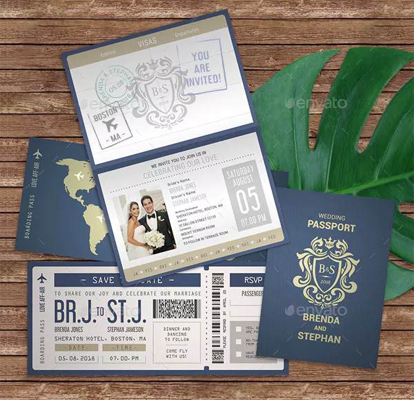 Creative Passport Wedding Invitation Design