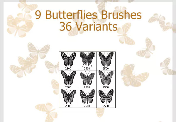Decorative Butterflies Brushes