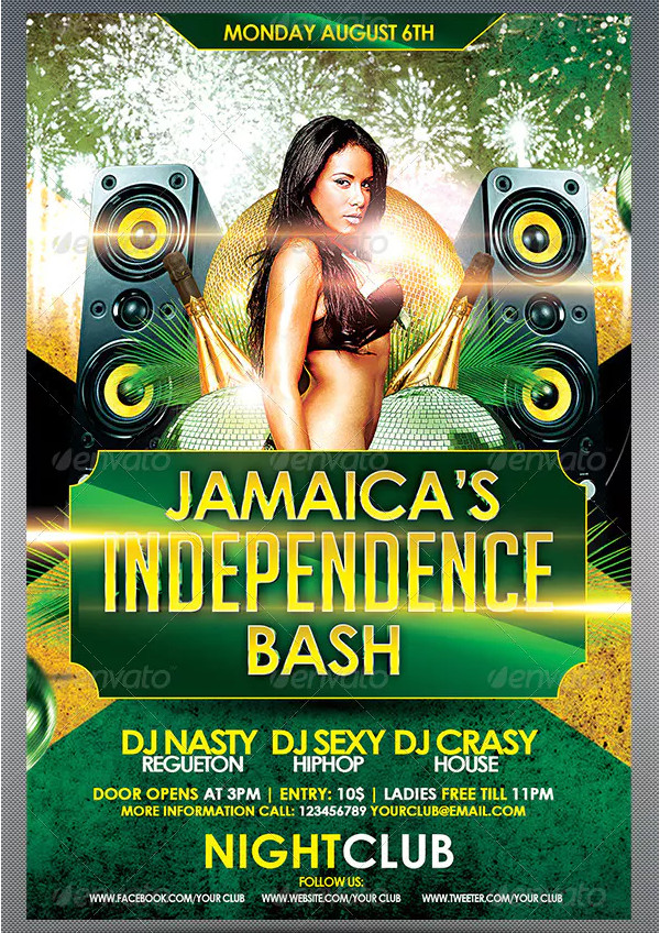Jamaica's Independence Day Bash Flyer