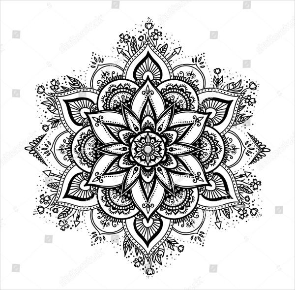 Black Isolated Ethnic Mandala Design