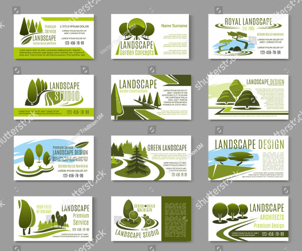 Collection of Landscaping Business Cards Design