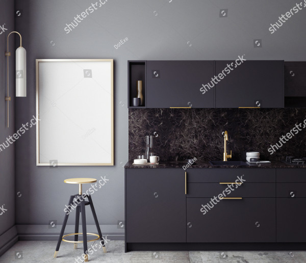 Black Kitchen Interior Wall Mockup