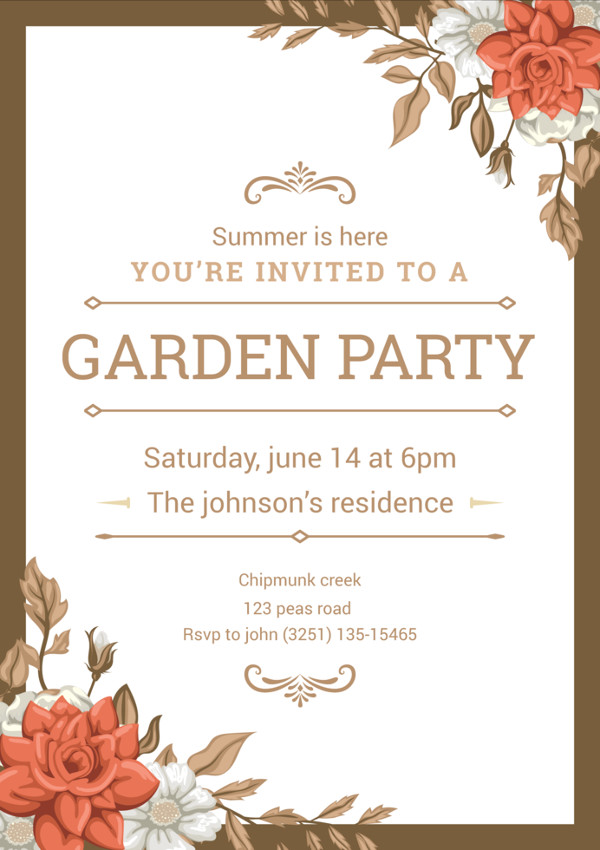 Illustration of Garden Party Invitation Free Download
