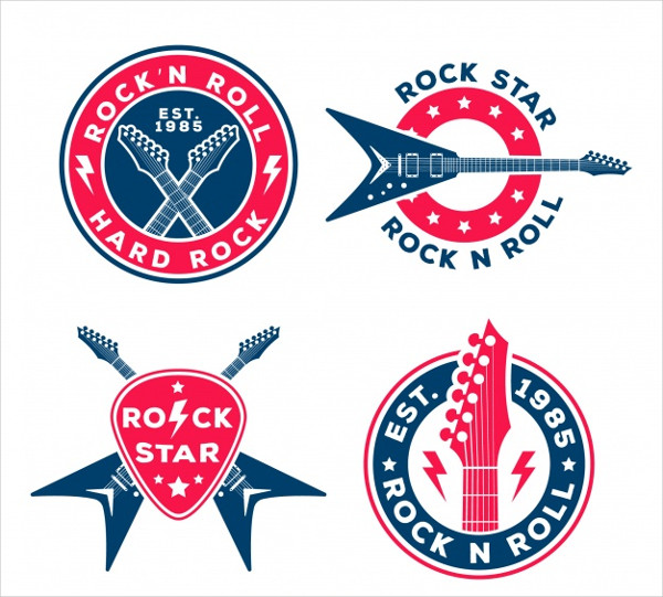 Rock Logos Collection with Flat Design Free