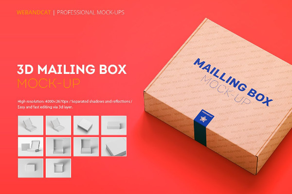 Shipping or Mailing Box Mock-up