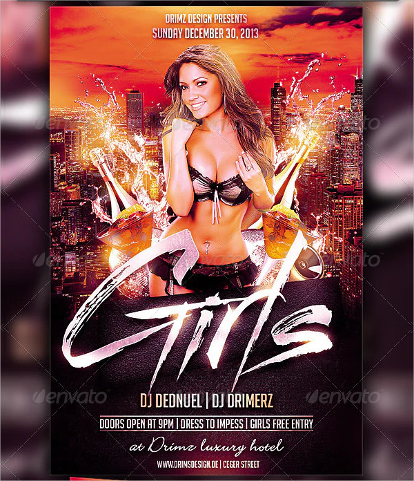 Fully Editable Girls Party Flyer Template