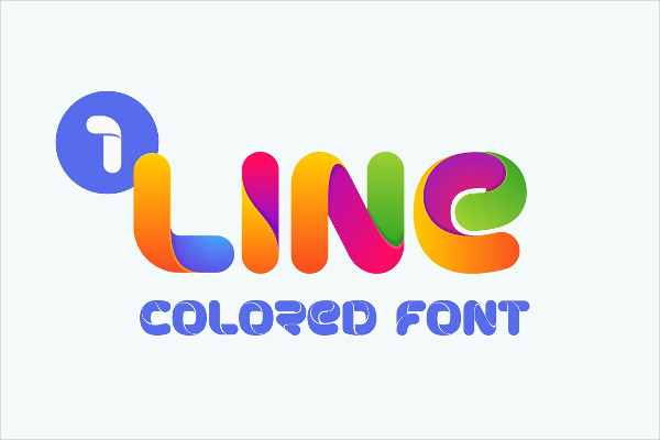 One-Line Bold Colored Font