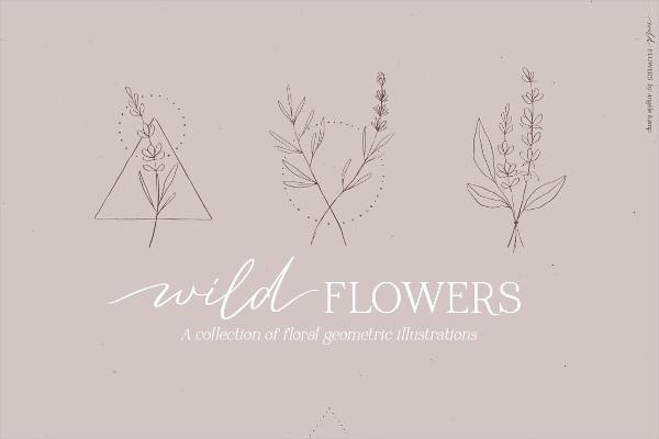 Wild Flowers Illustrations Geometric