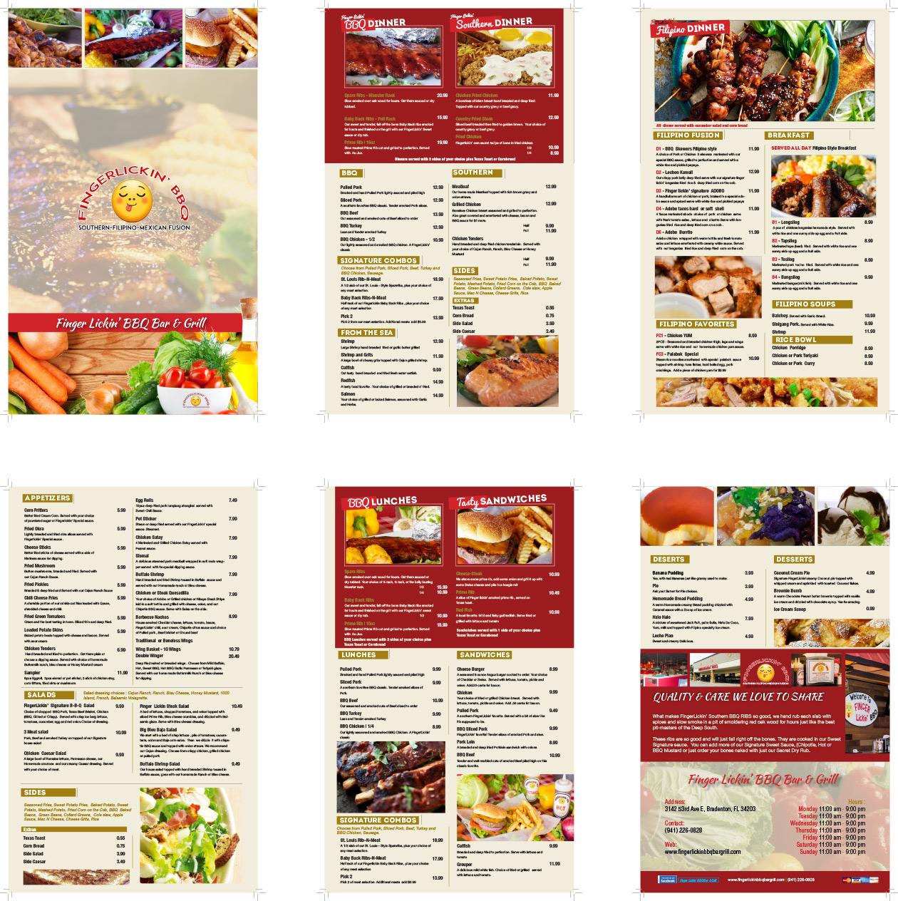 Restaurant Menu Design Bradenton And Tampa