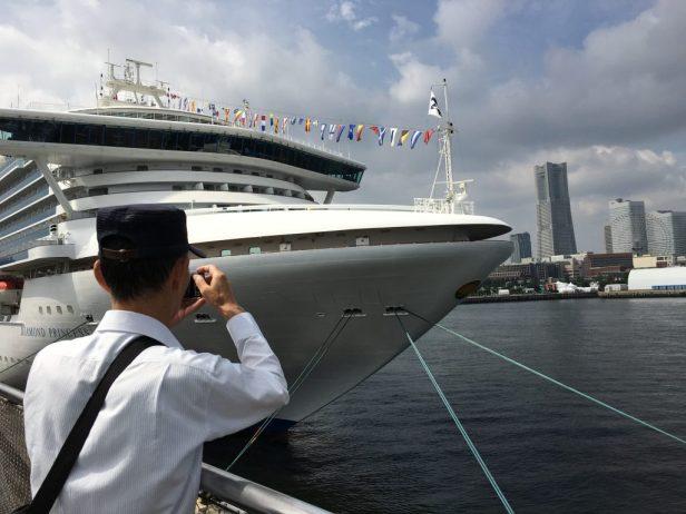 Man and Cruiser in Osanbashi Pier in Yokohama - iPhone 6S Plus Camera Review