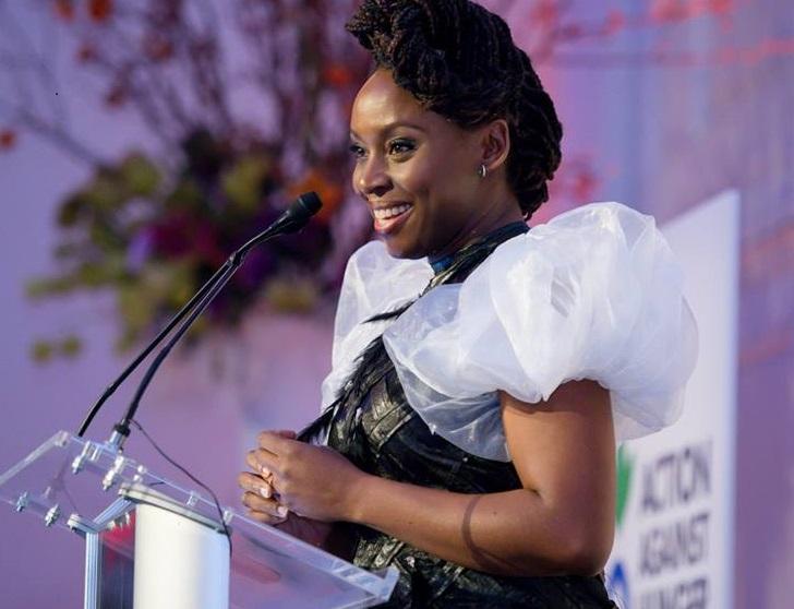 Chimamanda Ngozi Adichie walks into the writing workshop evenue