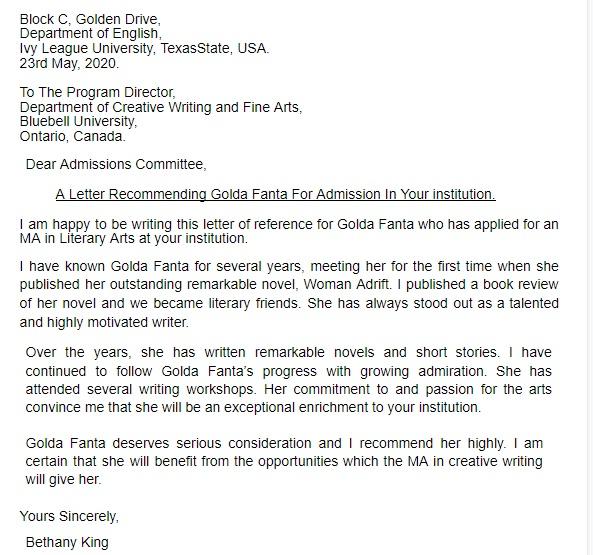 college recommendation letter sample