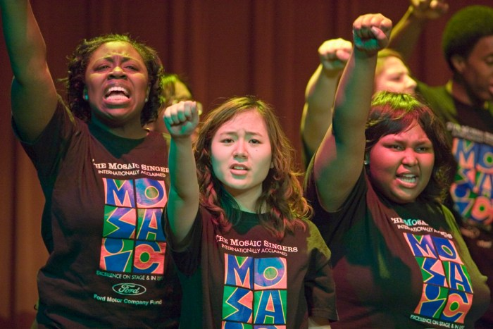 Detroit, Michigan - Mosaic Singers in concert. The Mosaic Singers are part of Mosaic Youth Theatre, which provides free, professional quality theater and music training for teenagers in the Detroit area. Copyright Jim West.