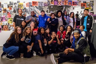 A group of San Diego youth who performed and spoke at an evening reception celebrating the 2019 San Diego Creative Youth Development Summit