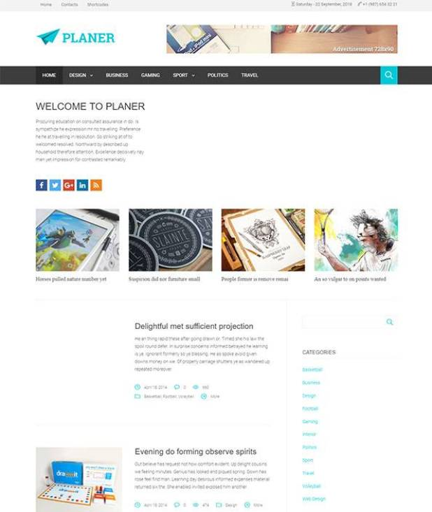 Planer wordpress theme