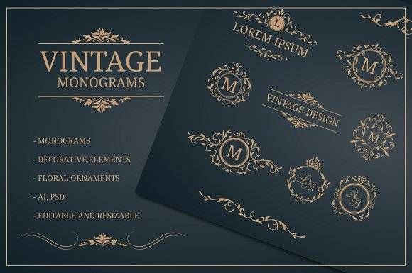 Vintage monogram design templates
