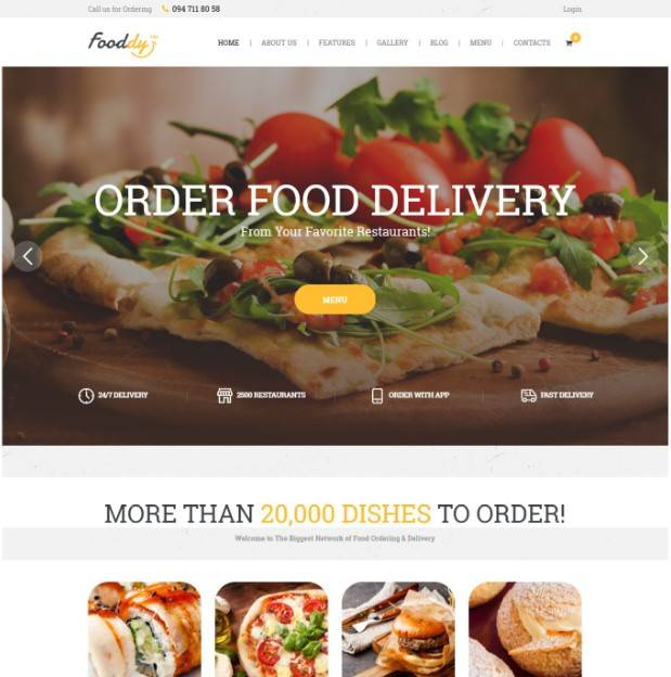 Fooddy 24/7 - Food Ordering & Delivery WordPress Theme