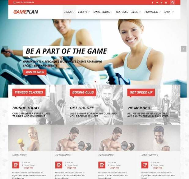Event and Gym Fitness WordPress Theme
