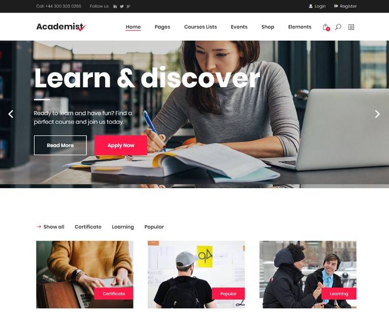 Academist - Modern Education wordpress themes