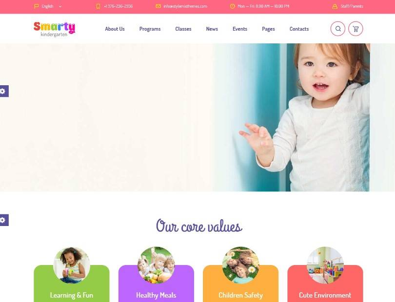Smarty - Kindergarten, School, High school, College, University, Alumni WordPress theme