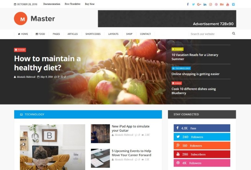 Master | Premium Blog and Magazine WordPress Theme