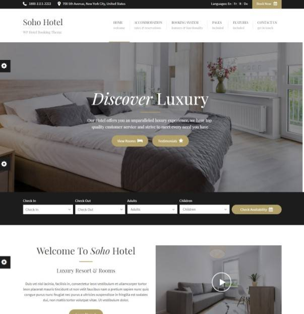 Soho Hotel Booking - Hotel WordPress Theme