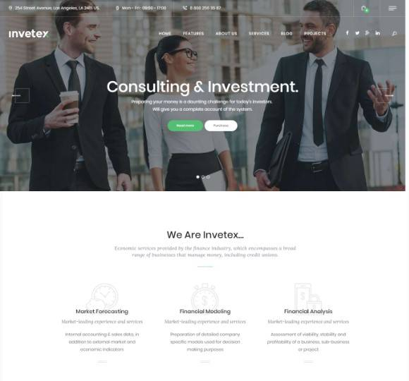 Invetex | Business Consulting & Investments WordPress Theme