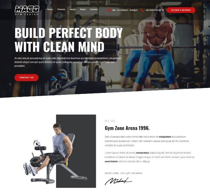 Gym and Fitness WordPress Theme