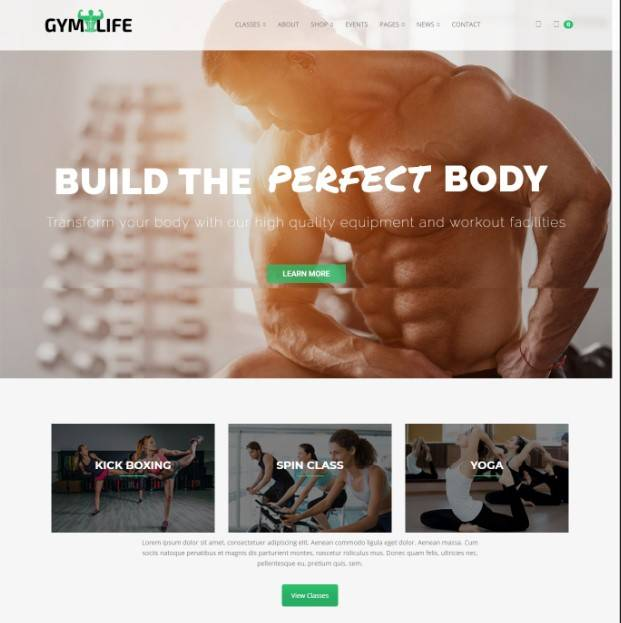 Gym, Yoga & Fitness WordPress Theme