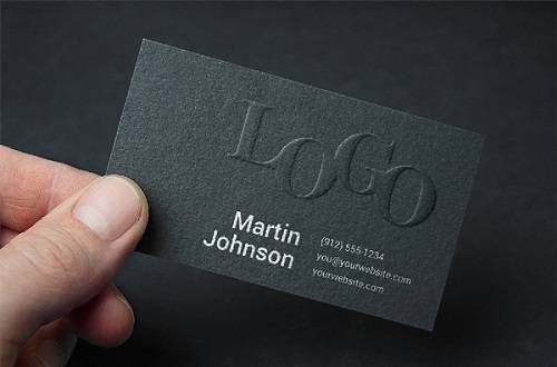 Embossed Business Card Mock Up