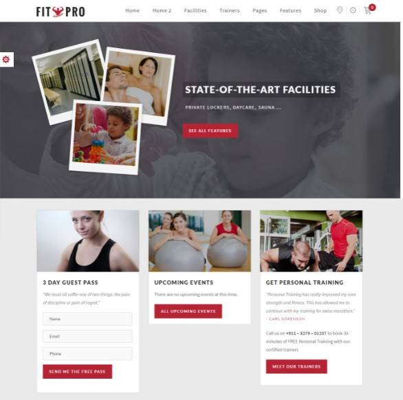 Events Fitness Gym Sports WordPress Theme