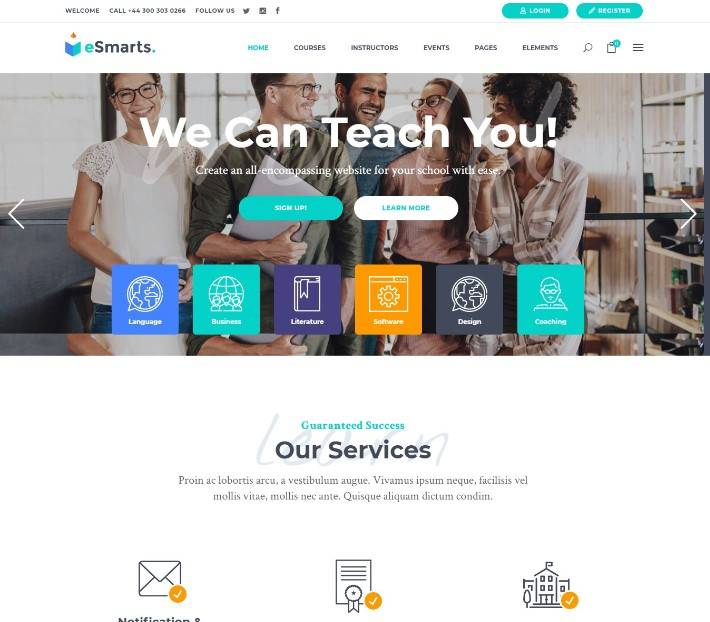 eSmarts - Theme for Education and LMS