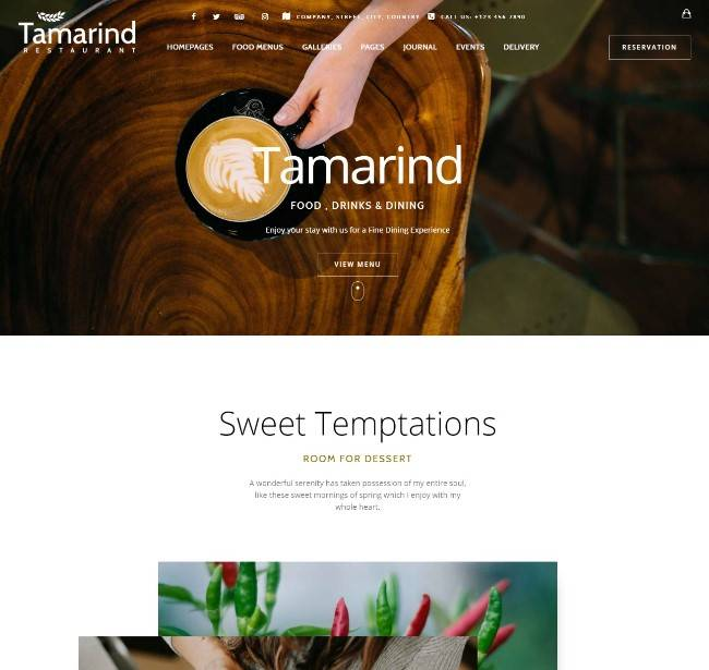Tamarind Restaurant Theme for WordPress