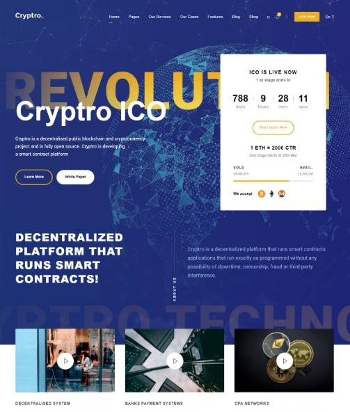 Cryptro wordpress theme