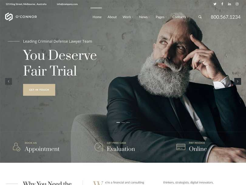 Oconnor – Lawyers Attorneys and Law Firm WordPress Theme