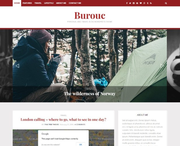 Burouc - Personal and Travel Blog WordPress Theme