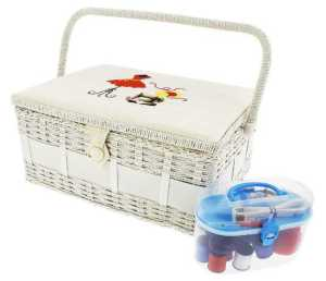 Vintage Sewing Basket Organizer Box Kit