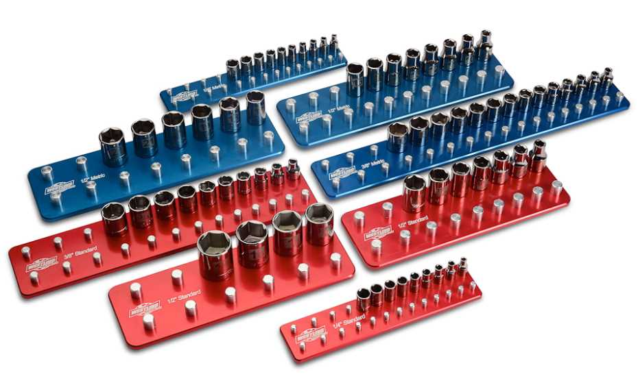 1//4 3 Piece Organizer Set 3//8 and 1//2-Inch Drive 3 Pack Neiko 03968A Offset Handle Socket Holder Rail