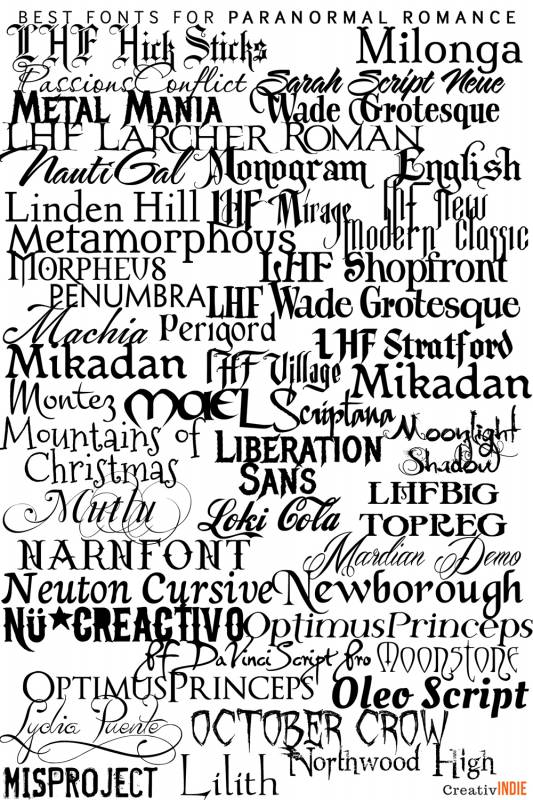 paranormal-533x800 What font should you use on your book cover design? Check this awesome list of best fonts per genre!