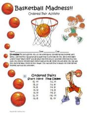 Ordered Pairs Graphing Math Activity with a basketball theme.