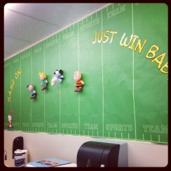 Ideas for decorating the classroom! Pick a theme like this classroom did – Peanuts and Football! (Picture used with permission.)