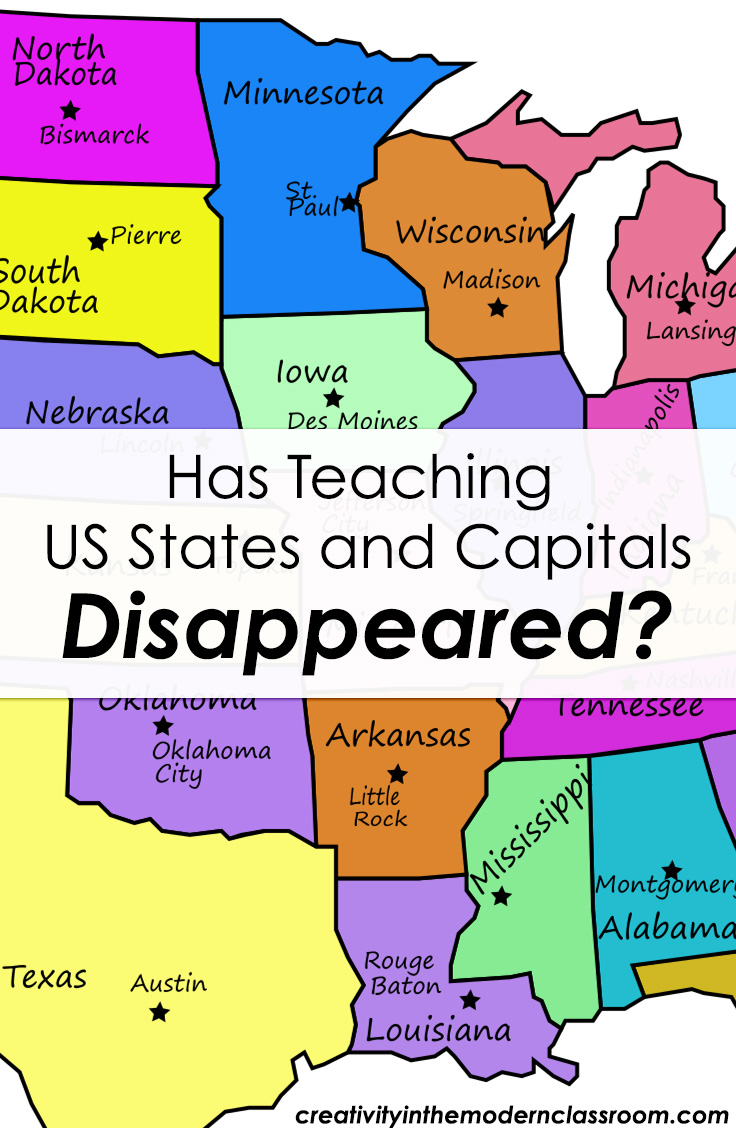 Has Teaching US States and Capitals Disappeared? Not sure how to teach the states and capitals in an engaging way? Here's a great look at the importance of states & capitals, plus ideas on how to cover them in the classroom!