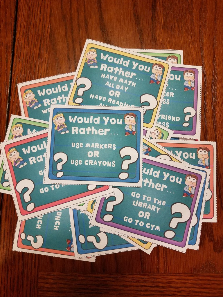 "Student engagement task cards are a great way to get your students energized and working together. These ""Would You Rather"" challenges are sure to engage your students."