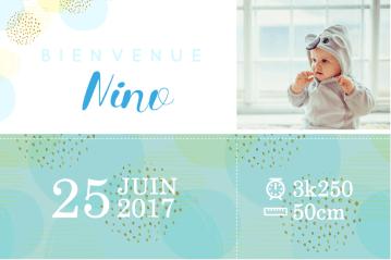 Faire part naissance garçon bulles et paillettes - cecile spadotto creatrice graphique - graphiste tarn - webdesigner tarn