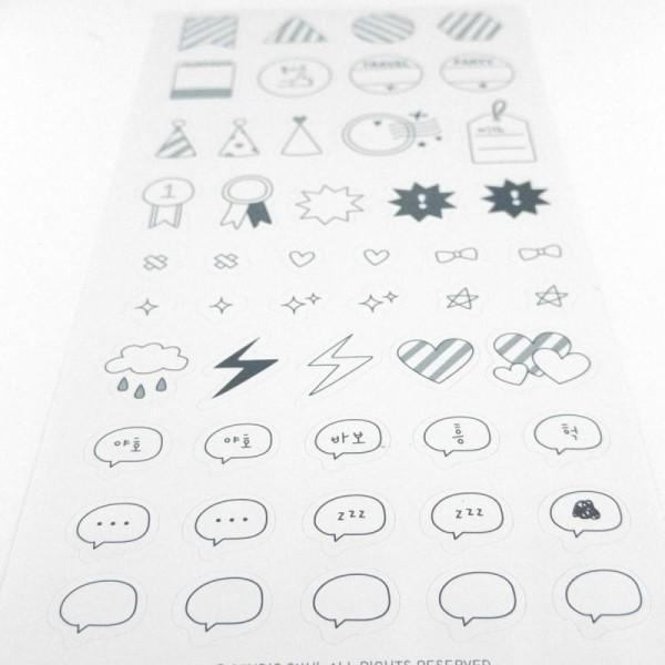 planche 10x20cm 50 stickers formes rayes chapeaux de fete et petits dessins noir et blanc